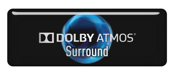 "Dolby Atmos Surrond 2.75""x1"" Chrome Effect Domed Case Badge / Sticker Logo"