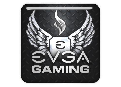 "EVGA Gaming 1""x1"" Chrome Effect Domed Case Badge / Sticker Logo"
