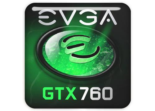 "EVGA GeForce GTX 760 1""x1"" Chrome Effect Domed Case Badge / Sticker Logo"