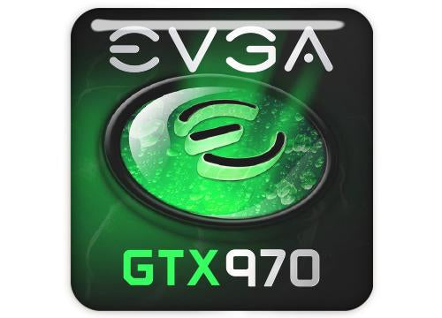 "EVGA GeForce GTX 970 1""x1"" Chrome Effect Domed Case Badge / Sticker Logo"