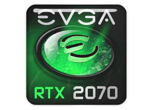 "EVGA GeForce RTX 2070 1""x1"" Chrome Effect Domed Case Badge / Sticker Logo"