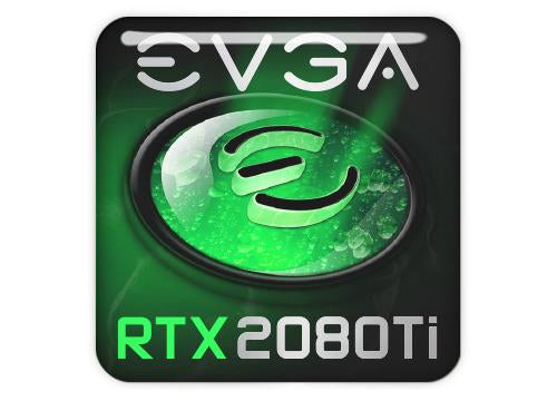 "EVGA GeForce RTX 2080 Ti 1""x1"" Chrome Effect Domed Case Badge / Sticker Logo"
