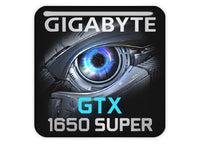 "Gigabyte GeForce GTX 1650 Super 1""x1"" Chrome Effect Domed Case Badge / Sticker Logo"