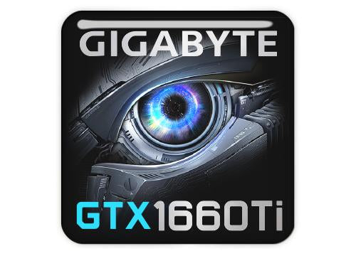 "Gigabyte GeForce GTX 1660 Ti 1""x1"" Chrome Effect Domed Case Badge / Sticker Logo"