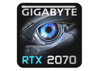 "Gigabyte GeForce RTX 2070 1""x1"" Chrome Effect Domed Case Badge / Sticker Logo"