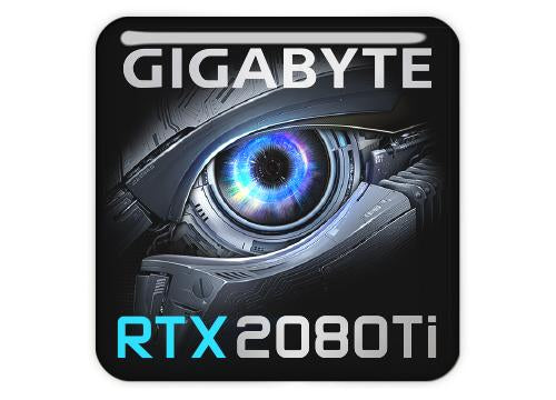 "Gigabyte GeForce RTX 2080 Ti 1""x1"" Chrome Effect Domed Case Badge / Sticker Logo"