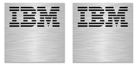 "IBM Model M 0.94""x0.94"" Brushed Silver Effect Sticker Logo (Lot of 2)"