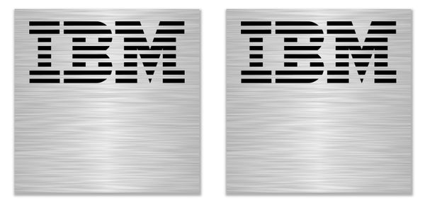 "IBM Model F 0.94""x0.94"" Brushed Silver Effect Sticker Logo (Lot of 2)"