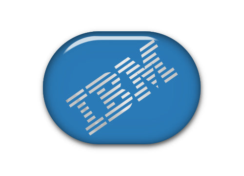 "IBM Model M 1""x0.8"" Blue Chrome Effect Domed Badge / Sticker Logo"