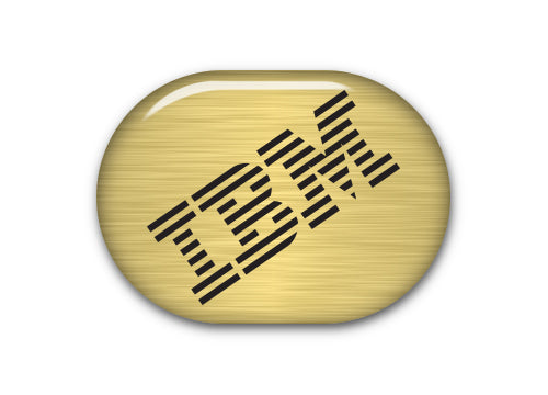 "IBM Model M 1""x0.8"" Brushed Gold Effect Domed Badge / Sticker Logo"