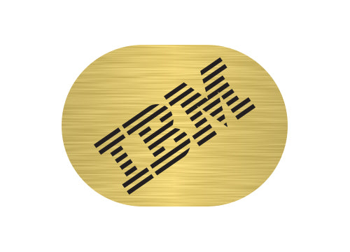 "IBM Model M 1""x0.8"" Brushed Gold Effect Sticker Logo (Lot of 2)"