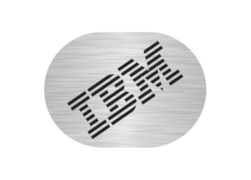 "IBM Model M 1""x0.8"" Brushed Silver Effect Sticker Logo (Lot of 2)"