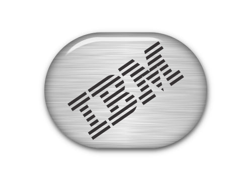 "IBM Model M 1""x0.8"" Brushed Silver Effect Domed Badge / Sticker Logo"