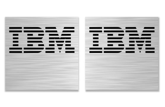 "IBM Lot of Two 1""x1"" Brushed Silver Effect Flat Stickers"
