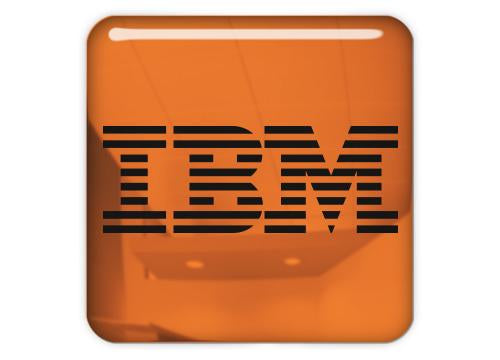 "IBM Copper 1""x1"" Chrome Effect Domed Case Badge / Sticker Logo"