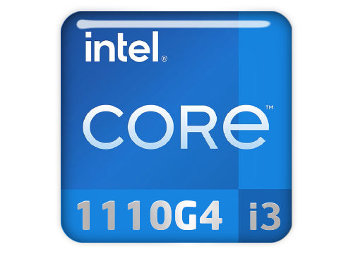 "Intel Core i3 1110G4 1""x1"" Chrome Effect Domed Case Badge / Sticker Logo"