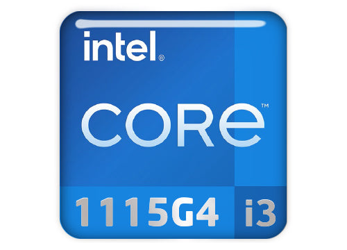 "Intel Core i3 1115G4 1""x1"" Chrome Effect Domed Case Badge / Sticker Logo"