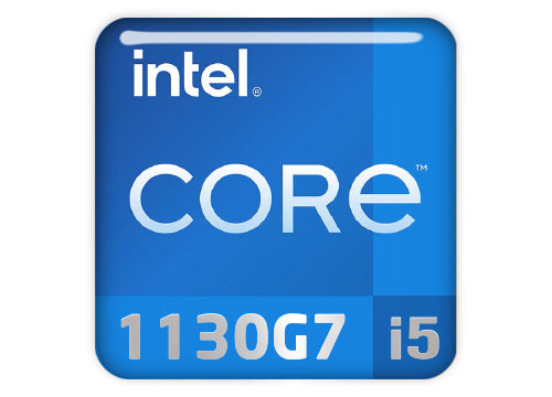 "Intel Core i5 1130G7 1""x1"" Chrome Effect Domed Case Badge / Sticker Logo"