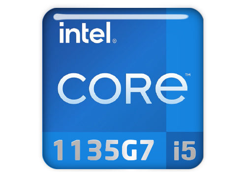 "Intel Core i5 1135G7 1""x1"" Chrome Effect Domed Case Badge / Sticker Logo"