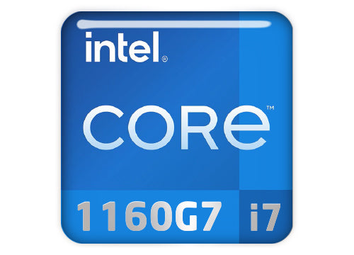 "Intel Core i7 1160G7 1""x1"" Chrome Effect Domed Case Badge / Sticker Logo"