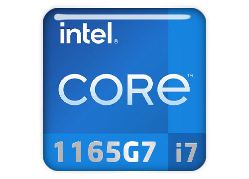 "Intel Core i7 1165G7 1""x1"" Chrome Effect Domed Case Badge / Sticker Logo"
