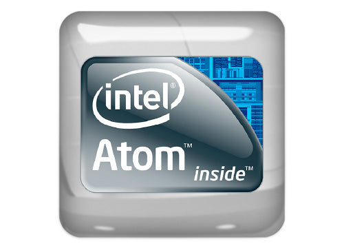 "Intel Atom Inside 1""x1"" Chrome Effect Domed Case Badge / Sticker Logo"