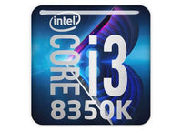 "Intel Core i3 8350K 1""x1"" Chrome Effect Domed Case Badge / Sticker Logo"