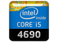 "Intel Core i5 4690 1""x1"" Chrome Effect Domed Case Badge / Sticker Logo"