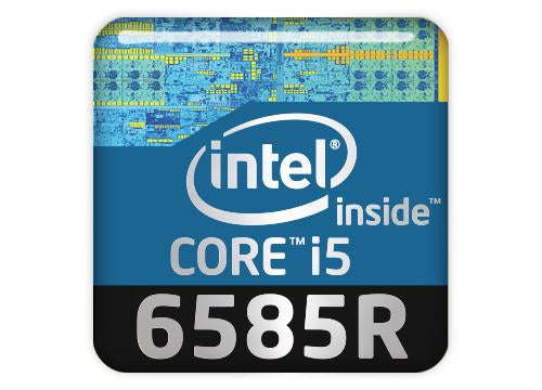 "Intel Core i5 6585R 1""x1"" Chrome Effect Domed Case Badge / Sticker Logo"