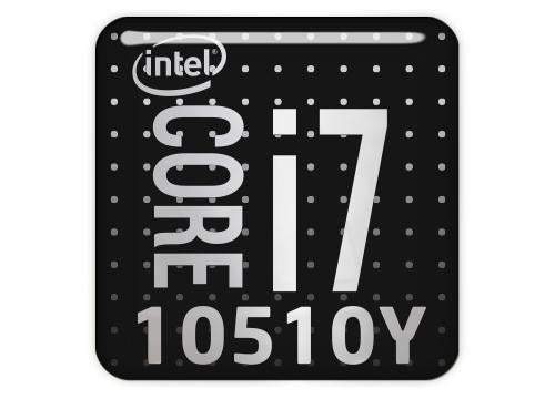 "Intel Core i7 10510Y 1""x1"" Chrome Effect Domed Case Badge / Sticker Logo"
