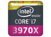 "Intel Core i7 3970X Extreme Edition 1""x1"" Chrome Effect Domed Case Badge / Sticker Logo"