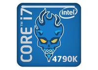 "Intel Core i7 4790K Devil's Canyon 1""x1"" Chrome Effect Domed Case Badge / Sticker Logo"