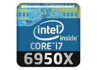 "Intel Core i7 6950X 1""x1"" Chrome Effect Domed Case Badge / Sticker Logo"
