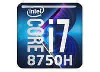 "Intel Core i7 8750H 1""x1"" Chrome Effect Domed Case Badge / Sticker Logo"