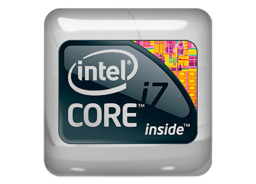 "Intel Core i7 Extreme inside Design #1 1""x1"" Chrome Effect Domed Case Badge / Sticker Logo"
