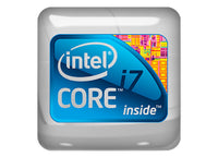 "Intel Core i7 inside Design #1 1""x1"" Chrome Effect Domed Case Badge / Sticker Logo"