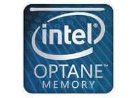 "Intel Optane Memory 1""x1"" Chrome Effect Domed Case Badge / Sticker Logo"