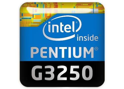 "Intel Pentium G3250 1""x1"" Chrome Effect Domed Case Badge / Sticker Logo"