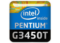 "Intel Pentium G3450T 1""x1"" Chrome Effect Domed Case Badge / Sticker Logo"
