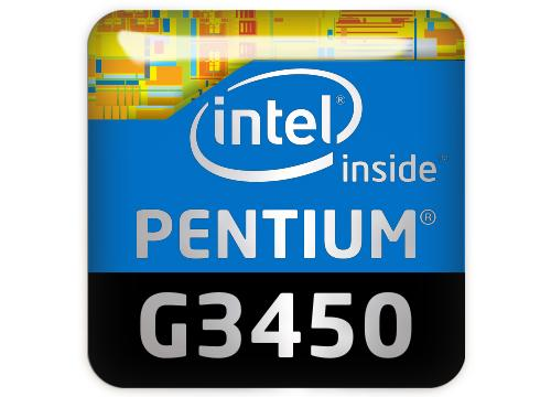 "Intel Pentium G3450 1""x1"" Chrome Effect Domed Case Badge / Sticker Logo"