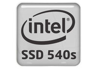 "Intel SSD 540s 1""x1"" Chrome Effect Domed Case Badge / Sticker Logo"