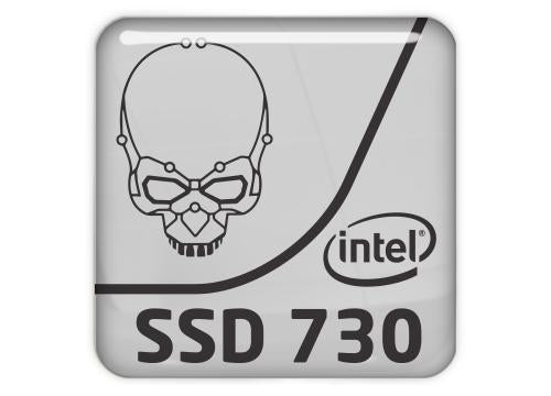 "Intel SSD 730 1""x1"" Chrome Effect Domed Case Badge / Sticker Logo"