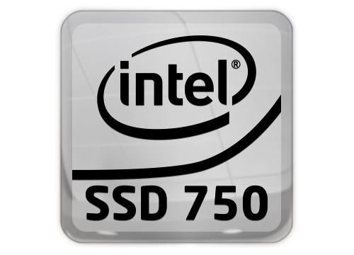 "Intel SSD 750 Lot of Two 1""x1"" Chrome Effect Flat Stickers"