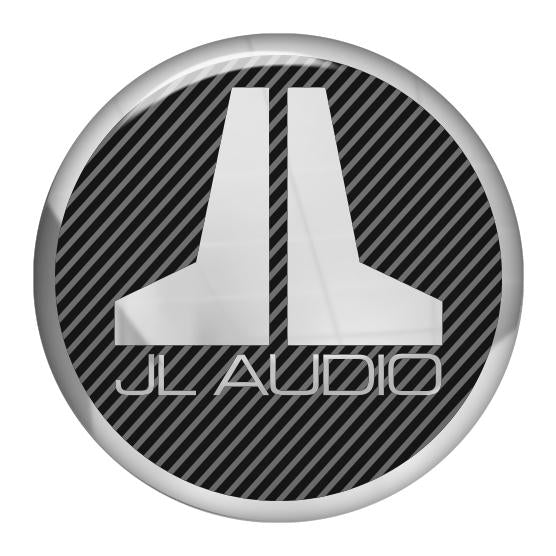 "JL Audio 1.5"" Diameter Round Chrome Effect Domed Case Badge / Sticker Logo"