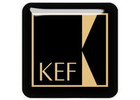"KEF Gold 1""x1"" Chrome Effect Domed Case Badge / Sticker Logo"