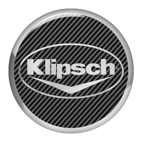 "Klipsch 1.5"" Diameter Round Chrome Effect Domed Case Badge / Sticker Logo"