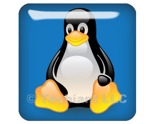 "Linux Tux Penguin Blue 1""x1"" Chrome Effect Domed Case Badge / Sticker Logo"