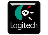 "Logitech 1""x1"" Chrome Effect Domed Case Badge / Sticker Logo"