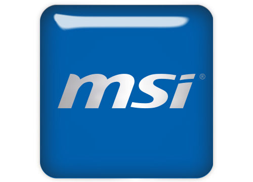 "MSI Blue Reverse 1""x1"" Chrome Effect Domed Case Badge / Sticker Logo"