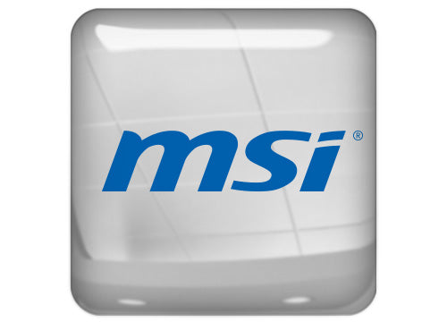 "MSI Blue 1""x1"" Chrome Effect Domed Case Badge / Sticker Logo"